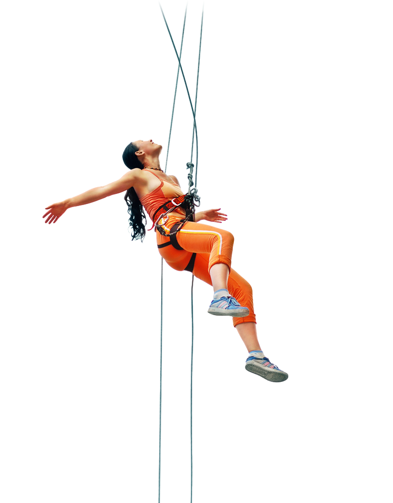 Woman with climbing gear